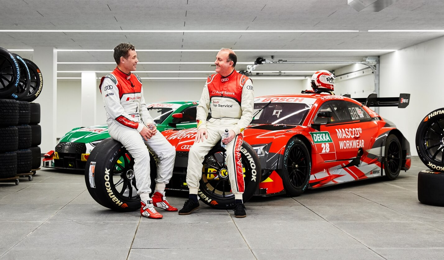 Tom Kristensen, race driver Audi Sport - Michael Grosbøl, managing director MASCOT - Audi Sport DTM car - MASCOT headquarters, Denmark