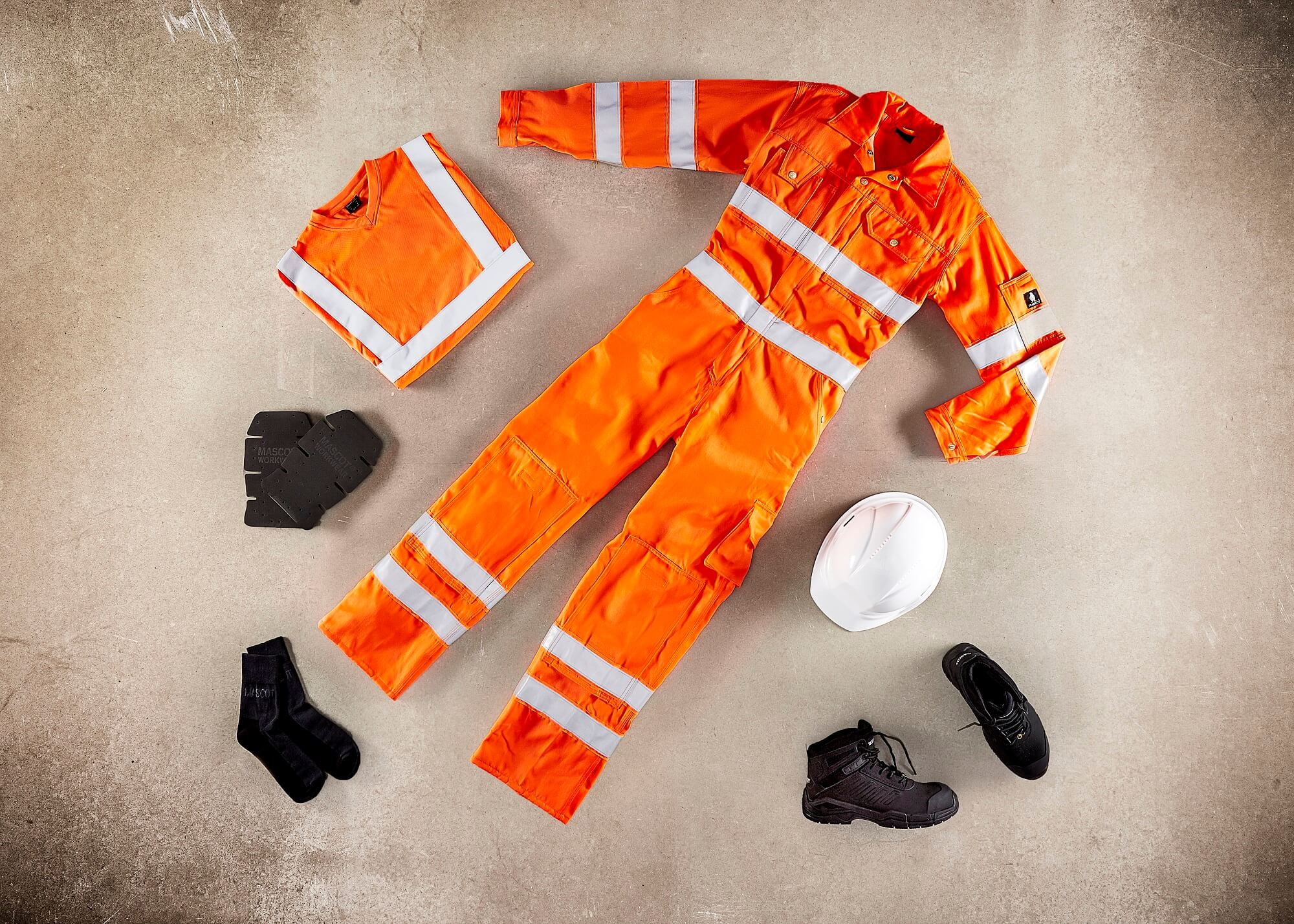 Fluorescent orange - Boilersuit, Safety Boot & Accessories - Collage
