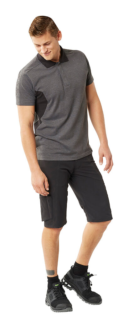 Work Polo Shirt & Shorts - Black & Grey - MASCOT® ACCELERATE