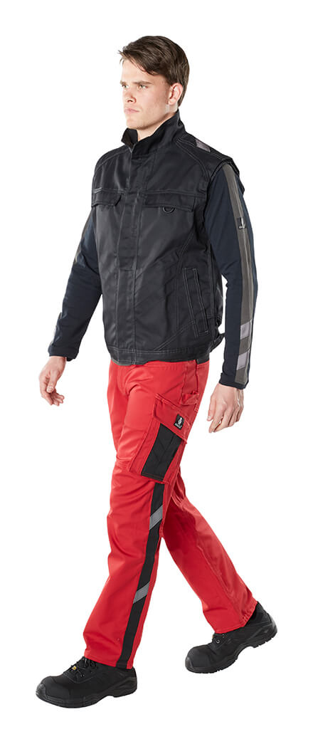 Man - Red - Trousers with kneepad pockets, Gilet & T-shirt