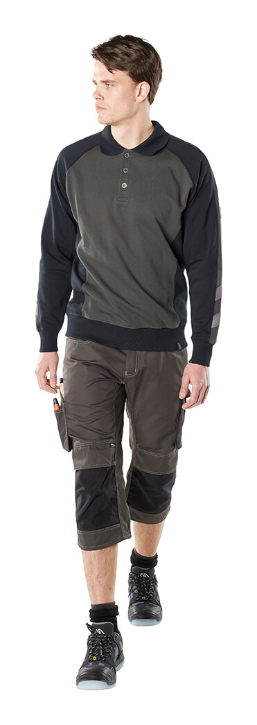 Man - Polo Shirt, long-sleeved & ¾ Work Trousers - Grey