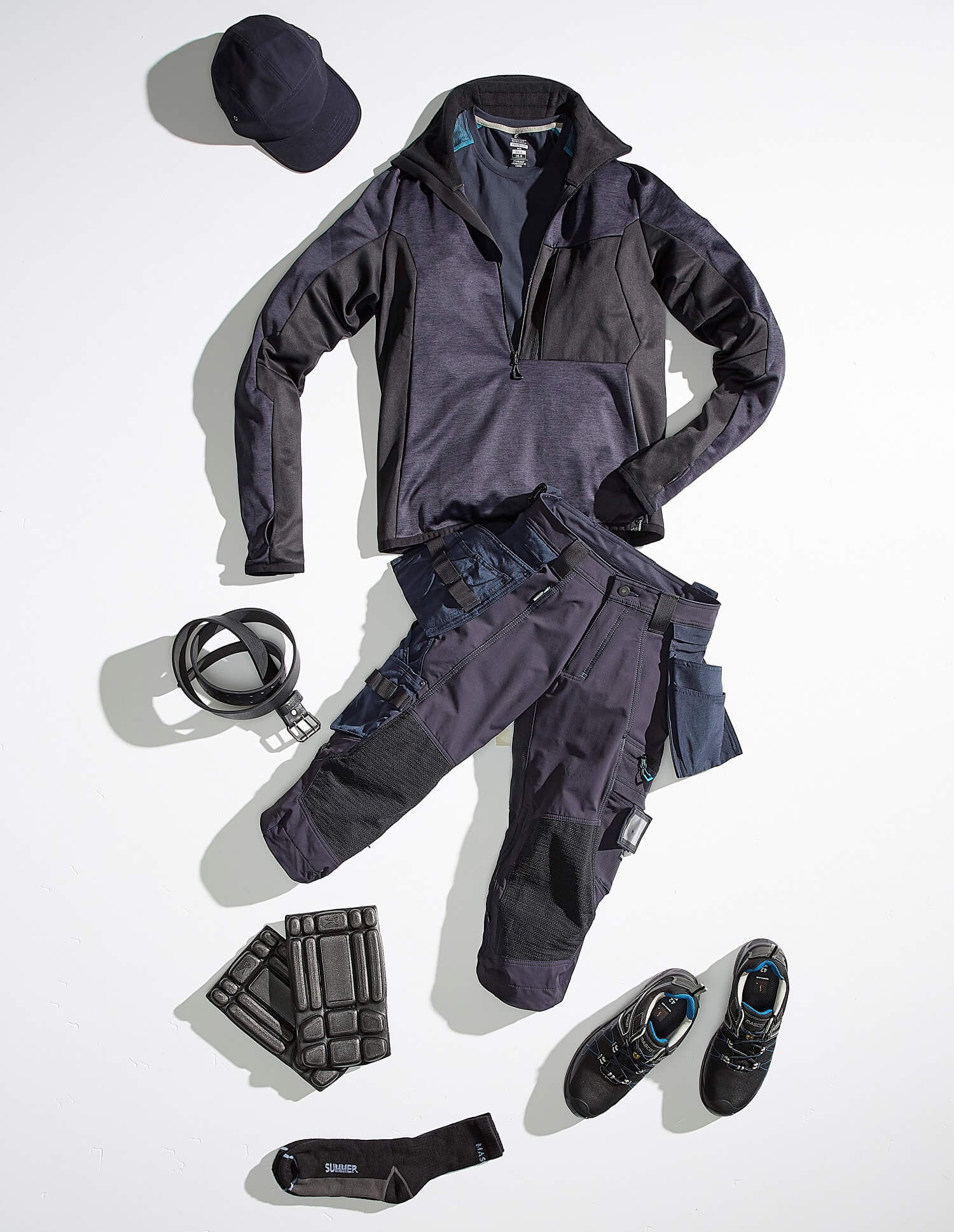 Navy - Work Jacket, ¾ length trousers, Safety Shoe & Accessories - Collage