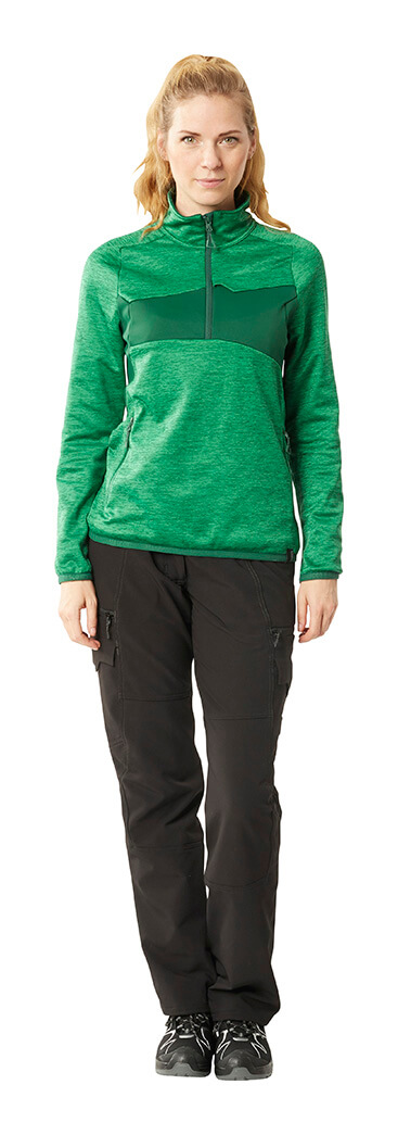 Woman - Half Zipped Jumper & Work trousers for women - Green & Black