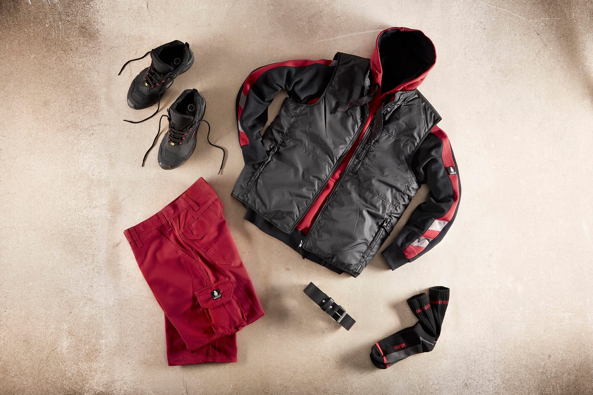 Collage - Red - Work Gilet, Hoodie & Trousers