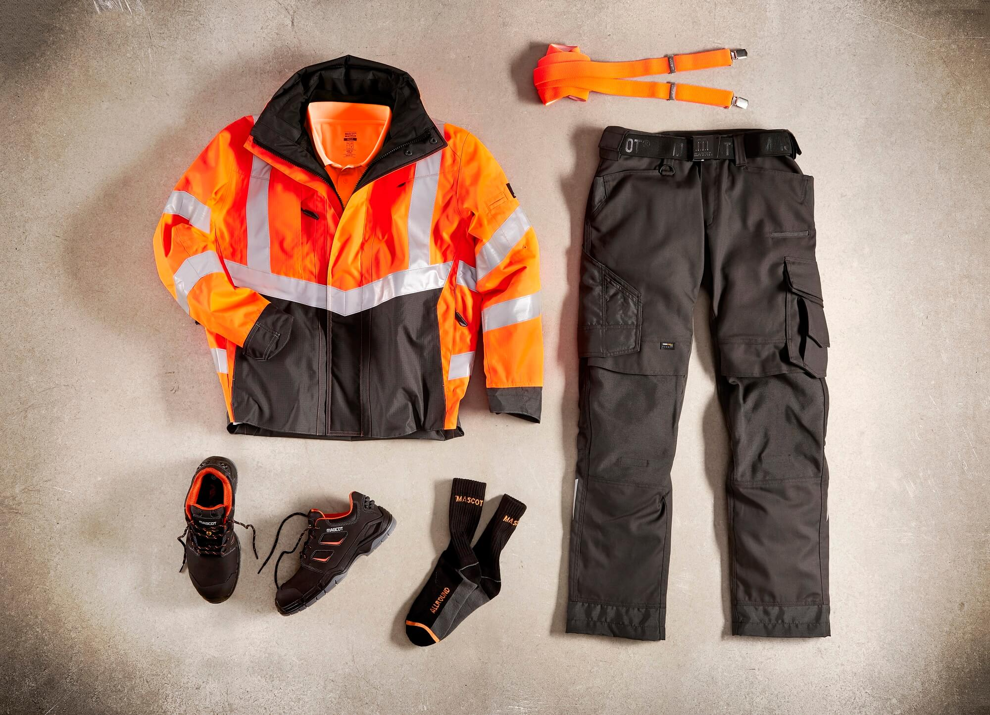 Collage - Hi-vis Jacket, Trousers, Socks & Safety Shoe - Fluorescent orange