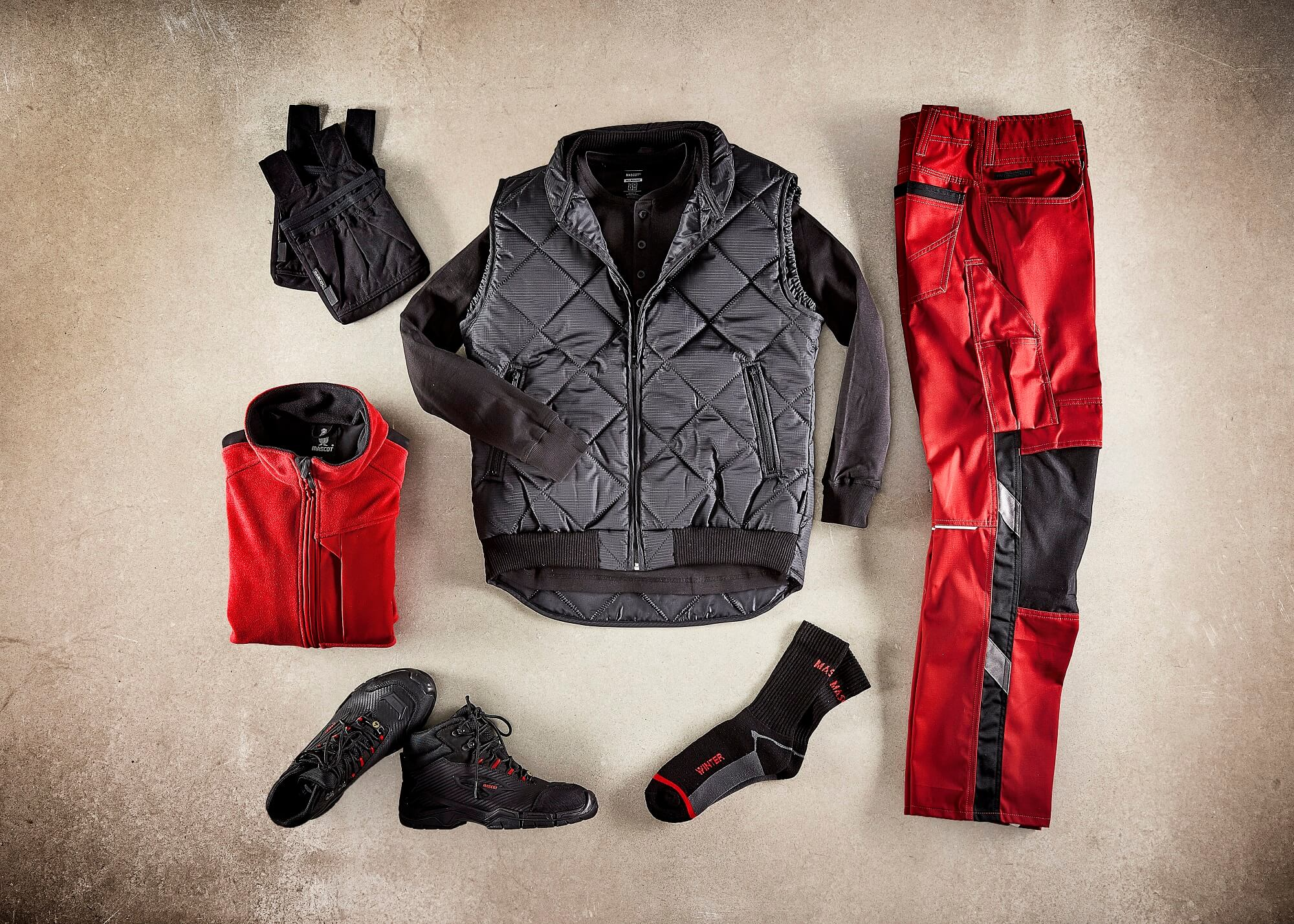 Collage - Thermal Gilet, Zipped Jumpers & Work Trousers - Red