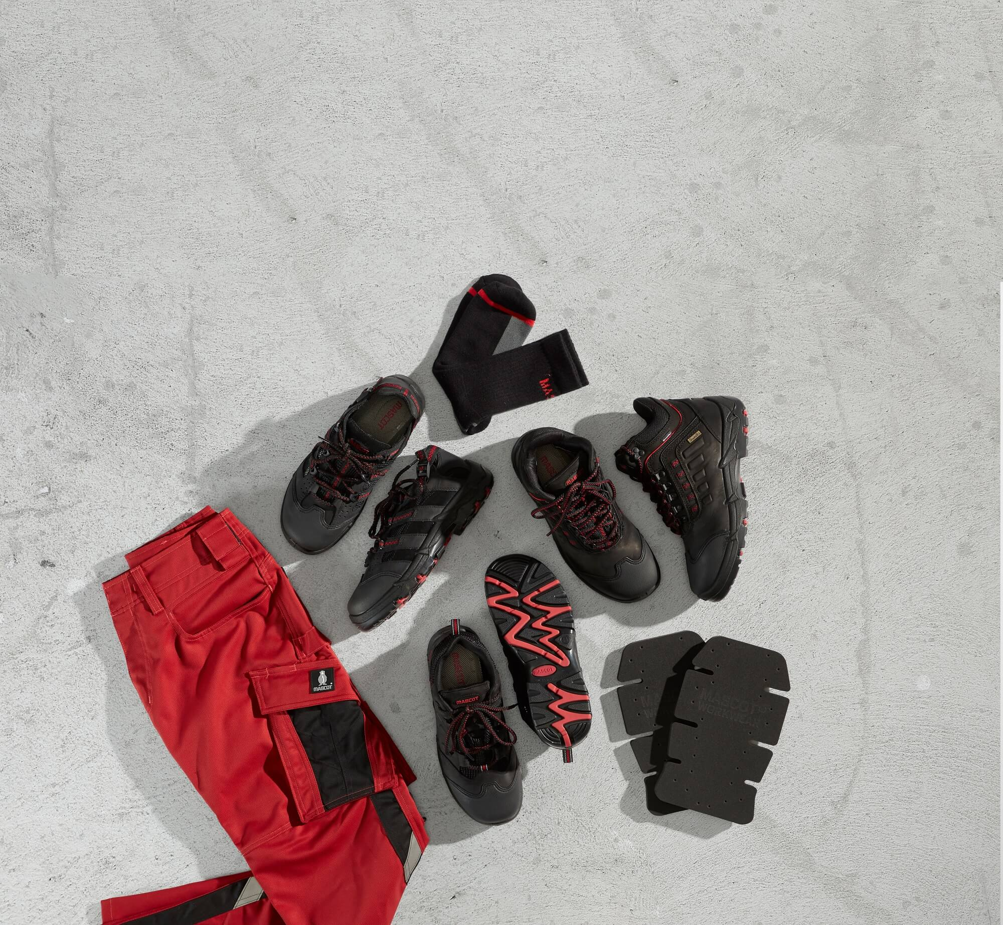 Collage - Work Trousers - Safety footwear - Red